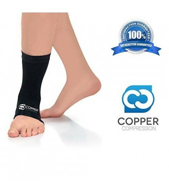 Copper Compression Recovery Ankle Sleeve - Highest Copper Content GUARANTEED and Highest Quality Copper - Infused Fit Wear Anywhere - 1 Ankle Sleeve