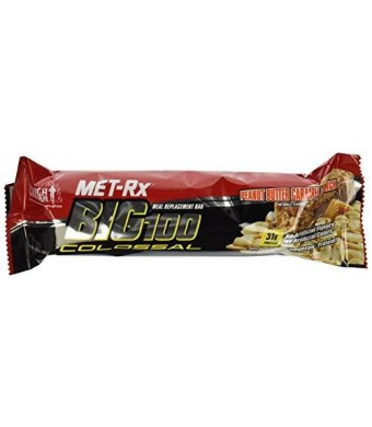 MET-Rx Big 100 Colossal Meal Replacement Bar, Peanut Butter Caramel Crunch, 3.52 Ounce Bars (Pack of 9)