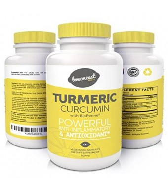 Lemon Zest Health Organic Turmeric Curcumin Supplement with BioPerine Black Pepper Extract for SUPERIOR Absorption