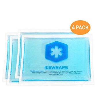"4 Reusable Hot or Cold Ice Packs 5""x7"" Microwavable Gel Packs Ideal for First Aid Pain Relief By IceWraps (4 Pack, Blue)"