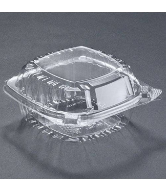 A World Of Deals Pack of 50 Small Clear Plastic Hinged Food Container 5x5 for Sandwich Salad Party Favor Cake Piece