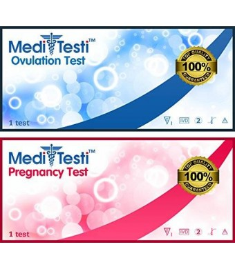 50 Ovulation Test Strips and 25 Pregnancy Test Strips / MediTesti Brand / Best Quality LH OPK Ovulation Predictor Kit and HCG Early Pregnancy Test