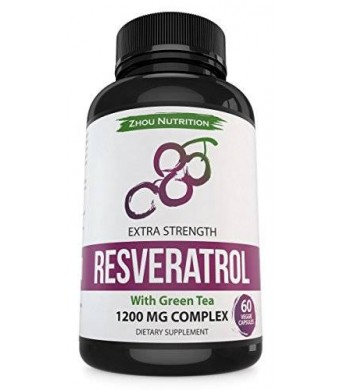 Resveratrol Supplement for Maximum Anti-Aging Support, Immune System Boost and Heart Health - Standardized to 50% Trans Resveratrol - Powerful Antioxidant Benefits - 60 Vegetarian Capsules