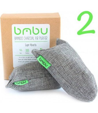 bmbu 2 x 100g Bamboo Charcoal Air Purifier Bags ? Shoe Deodorizer and Air Freshener ? Remove Odor and Control Moisture in Shoes