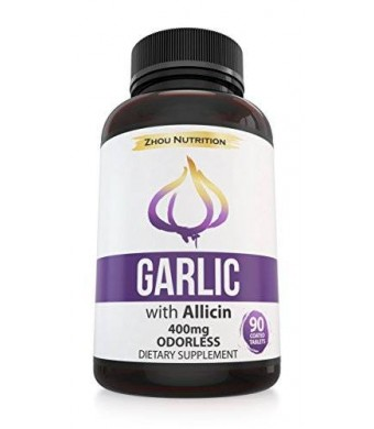 Zhou Nutrition Odorless Garlic With Allicin For Powerful Immunity Support - Enteric Coated Tablets - 90 Count, 400mg