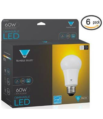 Triangle Bulbs 6-pack LED Dimmable 60 Watt Equivalent Warm White A19 Light Bulbs