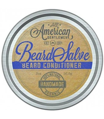 All American Gentlemen Beard Salve - 100% Natural and Organic Beard Conditioner - Leave in Beard Balm for Men - Bold Scent 2 Oz