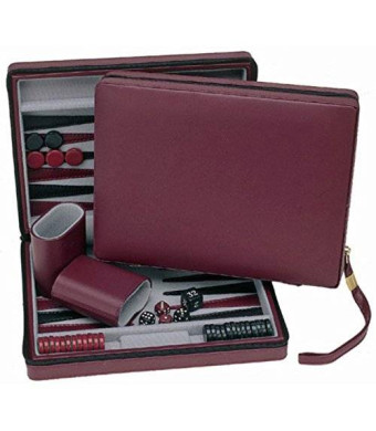 Wood Expressions WE Games Burgundy Magnetic Backgammon Set with Carrying Strap - Travel Size
