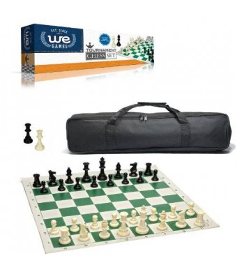 WE Games Wood Expressions Tournament Chess Set with Black Canvas Bag