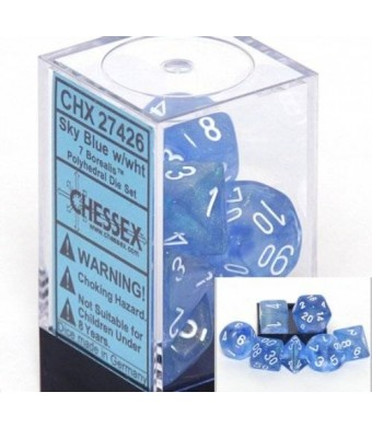 Chessex Dice: Polyhedral 7-Die Borealis Dice Set - Sky Blue w/white