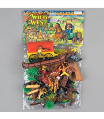 M&C; Toys COWBOYS and INDIANS - GIANT 42 Pc. Play Set - Teepees - Canoes, Chiefs, Indian Poles and More! **FACTORY SEALED**