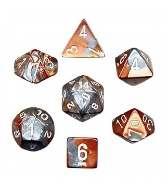 Chessex Polyhedral 7-Die Gemini Dice Set - Copper-Steel with White CHX-26424