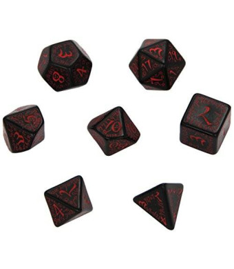 Q Workshop Elvish Dice Set, Black/Red