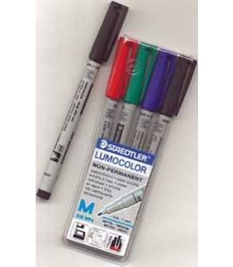 Chessex Role Playing Play Mat Marking Pen: (4 Pack) Staedtler Lumocolor Water Based Overhead Projection Markers