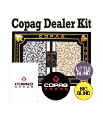 Brybelly Copag Playing Cards Dealer Kit - 1546 Black/Gold Poker Regular