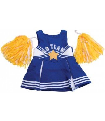 Fibre Craft The Springfield Collection by Fibre-Craft Cheerleader Outfit, Blue and White with Yellow Pom Poms