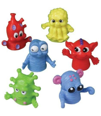 "US Toy Dozen Assorted Color Monster Finger Puppets - 1.5"""