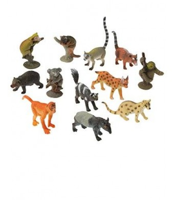US Toy Assorted Rain Forest Animal Figure Toys (Lot of 12)