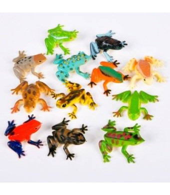 Rhode Island Novelty ~ 12 ~ Poison Dart Frogs ~ 1.5 Inch Plastic ~ NEW