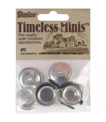 Darice Miniature 8 Pc Silver Stovetop Cookware Set
