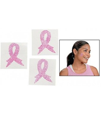 "OTC Breast Cancer Awareness Body Tattoo Stickers (12 Pack) 1 1/2"". Paper. Ribbon"