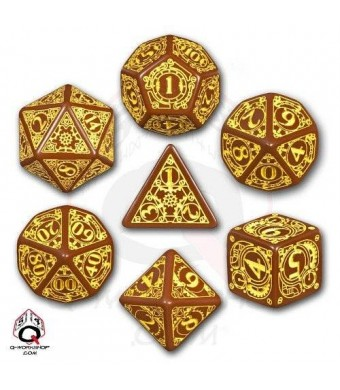 Q Workshop Steampunk Dice Brown/Yellow (7 Stk.) Board Game