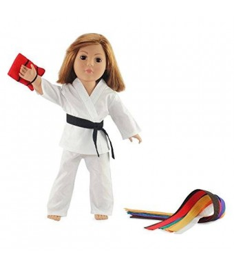 """Emily Rose Doll Clothes Fits American Girl Doll Karate Outfit - 18 Inch Doll Clothes/clothing Includes 18"""" Accessories. All Color Belts Included."""