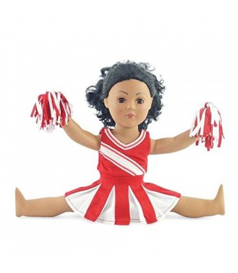 "Emily Rose Doll Clothes Doll Clothes Fit American Girl Doll - Red Cheerleader Outfit - 18 Inch Clothing with 18"" Accessories"
