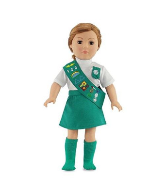 Emily Rose Doll Clothes Doll Outfit Similar to Junior Girl Scout with SOCKS | 18 Inch Dolls Clothes Fits American Girl | Gift-boxed!