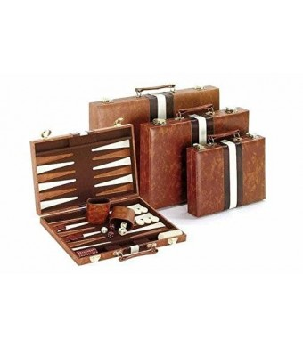 CHH Classic Backgammon Set, Brown/White