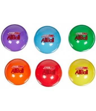 Sportime Multi-Purpose Inflatable All-Balls - 4 inch - Set of 6 - Assorted Colors