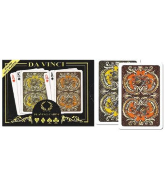 Da Vinci Harmony, Italian 100% Plastic Playing Cards, 2-Deck Bridge Size Regular Index Set, with Hard Shell Case and 2 Cut Cards