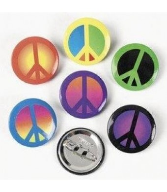FE 48 Pc Colorful Peace Sign Buttons. Fantasic For Groovy, Peace Sign Party Favors