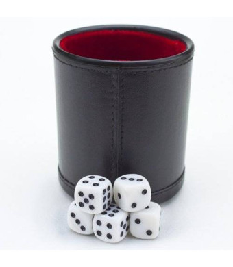 Felt Lined Professional Dice Cup w/ 5 Dice by Brybelly