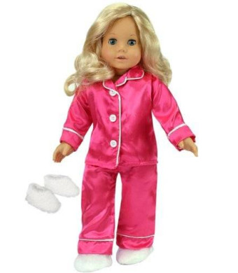 18 Inch Doll Clothing, Sophia's Hot Pink Satin Doll Pj's with White Slippers, Doll Pajamas Set Fits American Girl Dolls