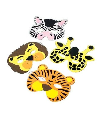 US Toy Wild Animal Foam Masks, (12) assorted masks