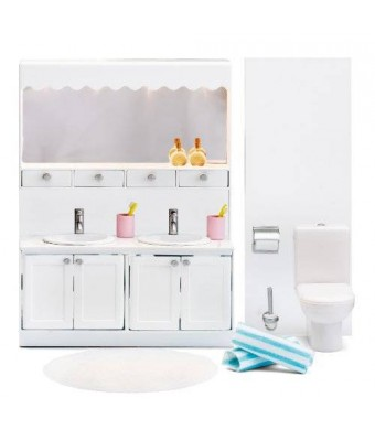 Lundby Smaland Dollhouse Accessories. Bathroom, Sink,Toilet and Vanity Cabinet with Electric Lights