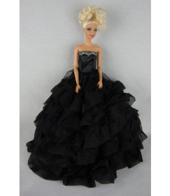 Olivia's Doll Closet Beautiful Black Dress with Lots of Ruffles Made to Fit the Barbie Doll