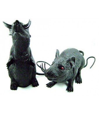 Graveyard Rat Spooky Plastic Squeaking Rats 8 - 9 Inches Tall(2 pack)