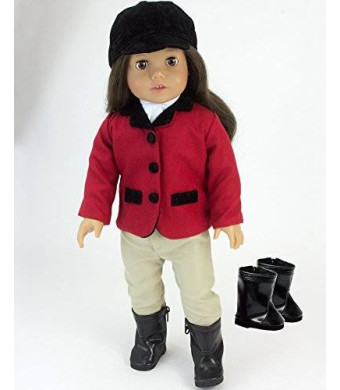 Sophia's 18 Inch Doll Riding Outfit and Black Doll Boots, Doll Clothing Fits American Girl Dolls, 5 Pc. Set Includes Boots