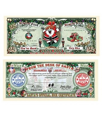 THE GAG Set of 25-Santa's Official Naughty and Nice List Certificates-GIVE ONE OUT EACH DAY DURING CHRISTMAS