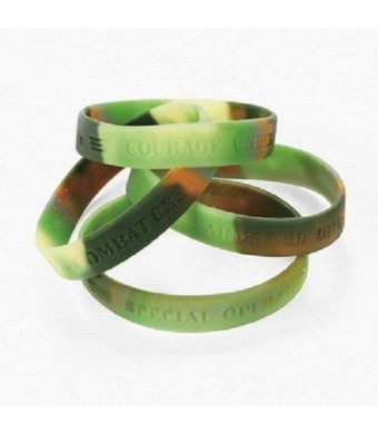 Fun Express Lot of 12 Green Camouflage Army Rubber Bracelets