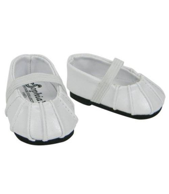 Sophia's Baby Doll Shoes in White fit for Bitty Baby American Girl Dolls, Ballerina Doll Flats in White