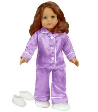 18 Inch Doll Clothing, Lavender Satin Doll Pj's with White Slippers Made by Sophia's, Doll Pajamas Set Fits American Girl Dolls