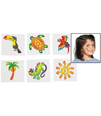 Fun Express Tropical Tattoos (6 Dozen) - BULK