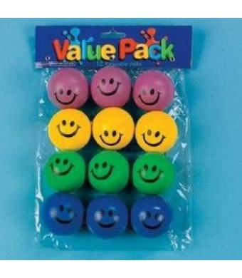 Fun Express Smile Face Relaxable Balls (6 DOZEN) - BULK Novelty