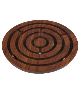 ShalinIndia Wooden Labyrinth Board Game Ball in Maze Puzzle Handcrafted in India
