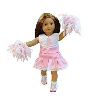 """Doll Clothes for American Girl Dolls: 6 Piece Cheerleading Outfit - """"Dress Along Dolly"""" (Includes 2 Pom Poms"""