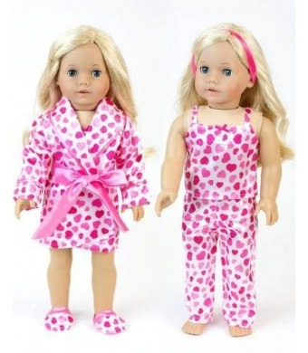 18 Inch Doll Clothes Hearts by Sophia's , Pajama 4 Pc. Set, Fits 18 Inch Dolls by My Doll's Life