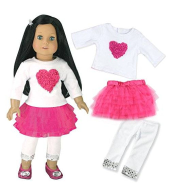 18 Inch Doll Clothes Outfit, 3 Pc. Set, Fits 18 Inch American Girl Doll and More! Heart and Tulle Skirt